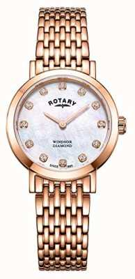 Rotary Womens Windsor Diamond Rose Gold Tone Bracelet Watch LB05304/41/D
