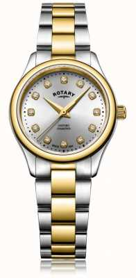 Rotary Womens Oxford Ladies Diamond Two Tone Bracelet Watch LB05093/44/D