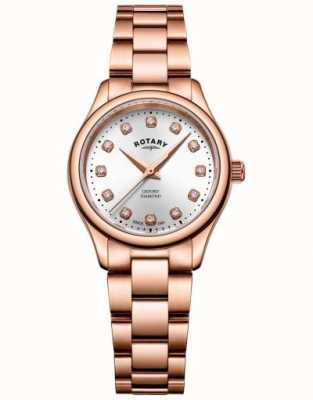 Rotary | Womens | Oxford | Diamond Set | Rose Gold Tone Bracelet | LB05096/02/D