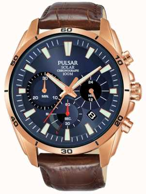 Pulsar Mens Rose Gold Plated Case Blue Dial PZ5062X1
