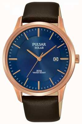 Pulsar Mens Rose Gold Plated Brown Leather Strap PX3164X1