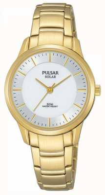 Pulsar Ladies Gold Plated Solar Silver Dial PY5042X1
