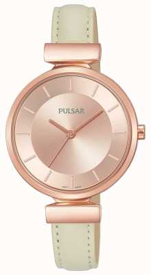 Pulsar Ladies Rose Gold Plated Case Cream Leather Strap PH8418X1
