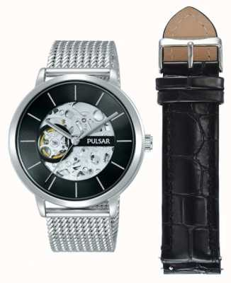 Pulsar Mens Stainless Steel Case Automatic Black Dial Watch Set P8A001X2