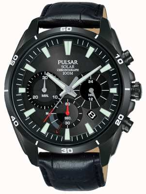 Pulsar Mens Black Leather Strap Black Solar Chronograph Dial PZ5063X1