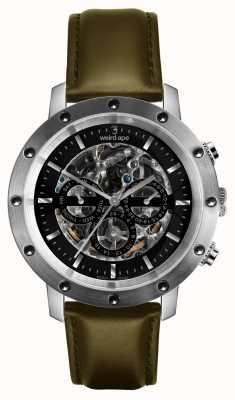 Weird Ape Icarus 3 Dial Black Silver/ Olive Green Leather Strap WA02-005721