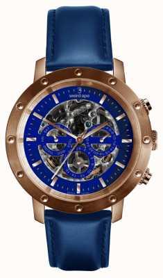 Weird Ape Icarus 3 Dial Blue Rose Gold /indigo Blue Leather Strap WA02-005730
