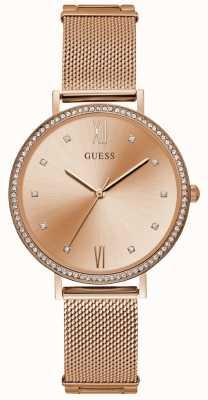 Guess Ladies Rose Gold Mesh Bracelet Rose Gold Dial W1154L2