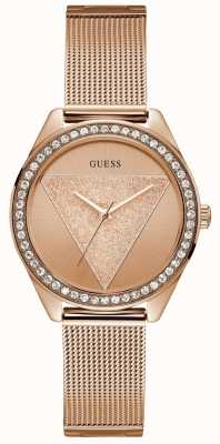 Guess Ladies Rose Gold Watch Rose Gold Glitz Logo W1142L4