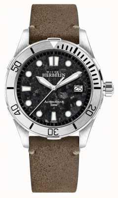 Michel Herbelin Mens Newport Trophy Watch Black Dial Brown Leather Strap 1660/22TER