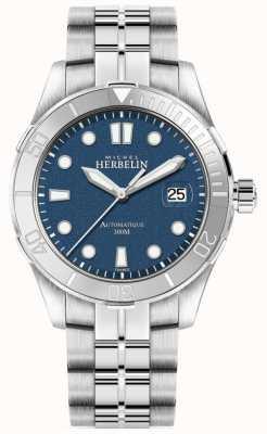 Michel Herbelin Mens Newport Trophy Silver Bracelet Blue Dial 1660/15B