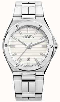 Michel Herbelin Mens Stainless Steel Bracelet White Watch 12245/B12