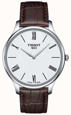 Tissot Mens Tradition Thin Brown Leather Strap Watch T0634091601800