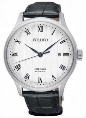 Seiko Presage Mens Automatic White Dial Black Leather Strap SRPC83J1