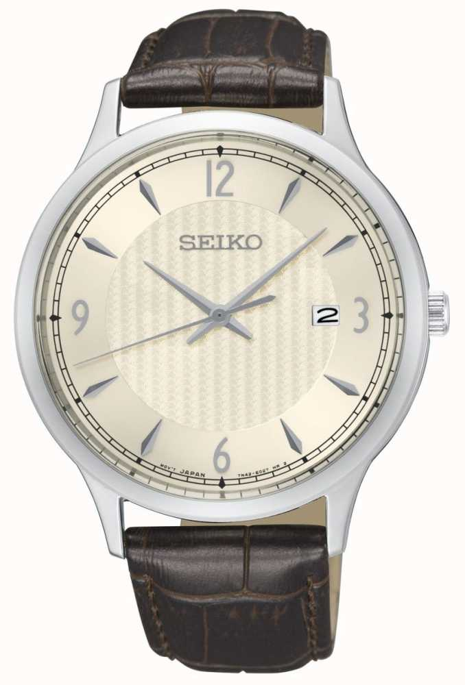 48ac53b1f Seiko Mens Classic Pattern Cream Dial Brown Leather Strap Watch ...