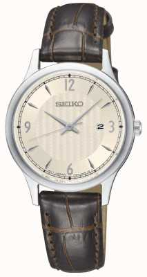 Seiko Womens Classic Pattern Cream Dial Brown Leather Strap Watch SXDG95P1