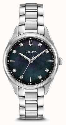 Bulova Womens Classic Sutton Watch Black Mother Of Pearl Dial 96P198