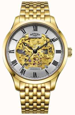Rotary Mens Greenwich Automatic Gold Plated Skeleton Watch GB02941/03