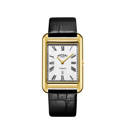 Rotary Mens Cambridge Date Gold Square Watch Black Leather Strap GS05283/01