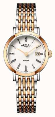 Rotary Womens Windsor Two Tone Rose Gold And Silver Bracelet Watch LB05302/01