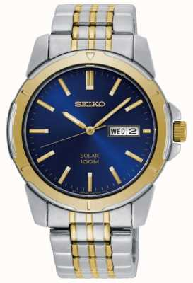 Seiko Mens Solar Watch Two Tone Stainless Steel Bracelet Blue Dial SNE502P1