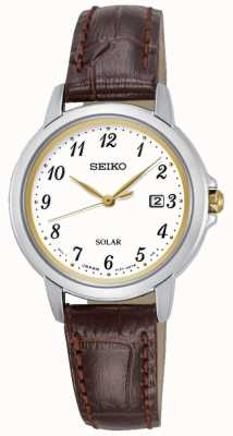 Seiko Womens Solar Cream Dial Brown Leather Strap SUT375P9