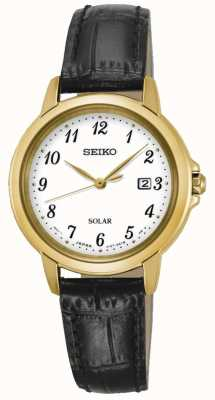 Seiko Womens Solar White Dial Black Leather Strap SUT376P9