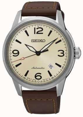 Seiko Presage Automatic Sapphire Cream Dial Brown Leather Strap SRPB03J1