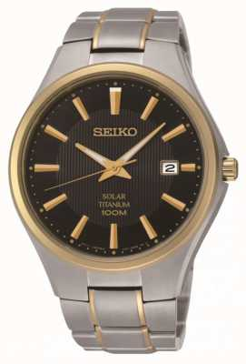 Seiko Mens Solar Two Tone Titanium Bracelet Watch SNE382P9