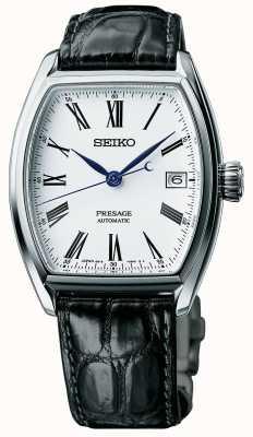 Seiko Mens Presage Automatic Black Strap Enamel Dial Watch SPB049J1