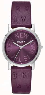 DKNY Womens Soho Purple Leather Purple Dial Watch NY2762
