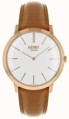 Henry London Iconic White Dial Tan Leather Strap Rose Tone Case HL40-S-0240