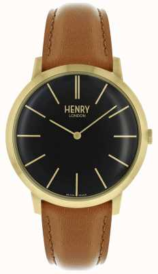 Henry London Iconic Black Dial Tan Leather Strap Gold Tone Case HL40-S-0242
