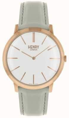 Henry London Iconic White Dial Grey Leather Strap Rose Tone Case HL40-S-0290