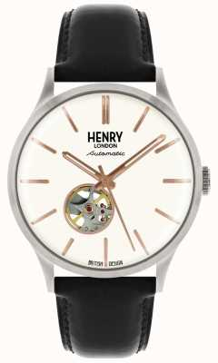 Henry London Heritage Mens Automatic Black Leather Strap White Dial Watch HL42-AS-0279