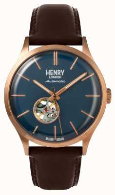 Henry London Heritage Mens Automatic Brown Leather Strap Navy Dial Watch HL42-AS-0278