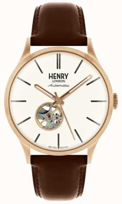 Henry London Heritage Mens Automatic Brown Leather Strap White Dial Watch HL42-AS-0276
