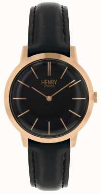 Henry London Iconic Black Dial Black Leather Strap Watch HL34-S-0218