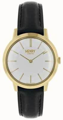 Henry London Iconic Womens Watch White Dial Black Leather Strap HL34-S-0214