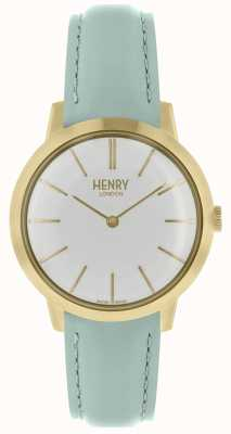 Henry London Iconic Womens Watch White Dial Blue Leather Strap HL34-S-0224