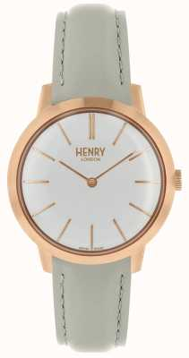 Henry London Iconic Womens Watch White Dial Grey Leather Strap HL34-S-0220