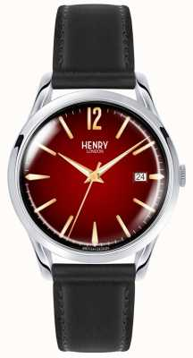 Henry London Chancery Unisex Black Leather Strap Red Dial Watch HL39-S-0095