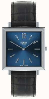 Henry London Heritage Mens Square Watch Blue Dial Black Leather Strap HL34-QS-0267