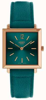 Henry London Heritage Womens Petite Square Watch Green HL26-QS-0258