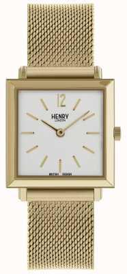 Henry London Heritage Womens Petite Square Watch Gold Mesh HL26-QM-0266