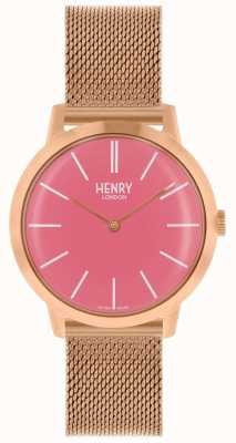 Henry London Iconic Womens Watch Rose Gold Mesh Bracelet Pink Dial HL34-M-0272