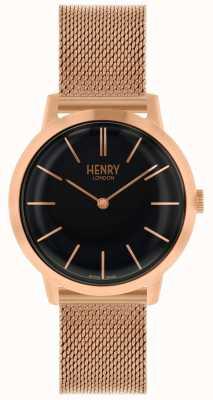 Henry London Iconic Rose Gold Mesh Bracelet Black Dial Watch HL34-M-0234