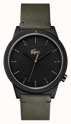 Lacoste Motion Moon Grey Leather Strap Black Dial 2010991