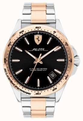 Scuderia Ferrari Mens Pilota Two Tone Gold Plated Bracelet Black Dial 0830528