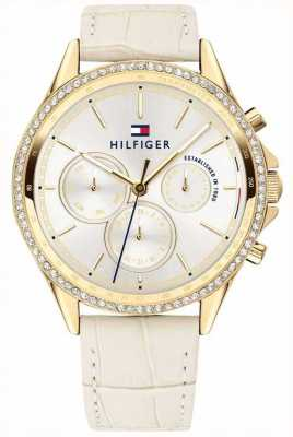 Tommy Hilfiger Womens Beige Leather Gold Plated Crystal Set Multifunction 1781982